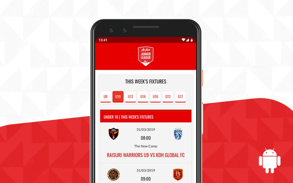 AirAsia KL Junior League web app for Android